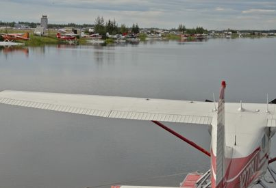 Float pond with planes in Fairbanks
